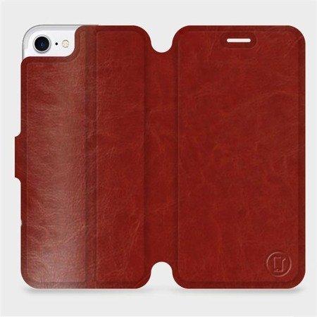 Parádní flip pouzdro Mobiwear na mobil Apple iPhone 7 v provedení C_BRP Brown&Orange s oranžovým vnitřkem