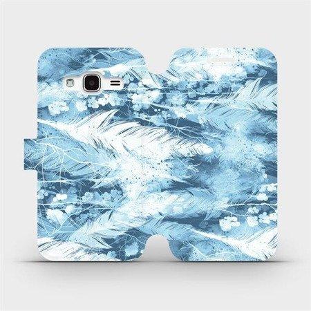 Flipové pouzdro Mobiwear na mobil Samsung Galaxy J3 2016 - M058S Světle modrá horizontální pírka