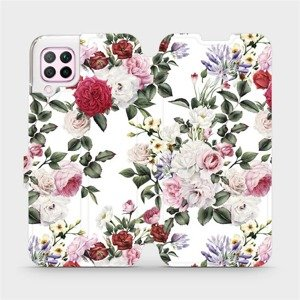 Flipové pouzdro Mobiwear na mobil Huawei P40 Lite - MD01S Růže na bílé
