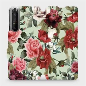 Flipové pouzdro Mobiwear na mobil Sony Xperia 1 II - MD06P Růže a květy na světle zeleném pozadí