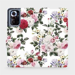Flipové pouzdro Mobiwear na mobil Xiaomi Redmi Note 10 Pro - MD01S Růže na bílé