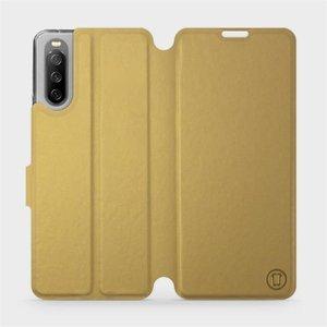 Flip pouzdro Mobiwear na mobil Sony Xperia 10 III v provedení C_GOS Gold&Gray s šedým vnitřkem