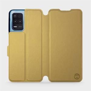 Flip pouzdro Mobiwear na mobil Realme 8 5G v provedení C_GOS Gold&Gray s šedým vnitřkem