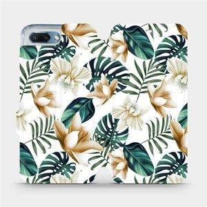 Flipové pouzdro Mobiwear na mobil Honor 10 - MC07P Zlatavé květy a zelené listy