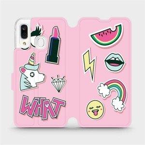 Flipové pouzdro Mobiwear na mobil Samsung Galaxy A40 - M129S Růžové WHAT