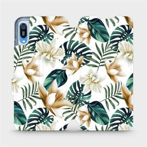 Flipové pouzdro Mobiwear na mobil Huawei Y6 2019 - MC07P Zlatavé květy a zelené listy