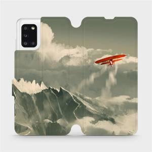 Flipové pouzdro Mobiwear na mobil Samsung Galaxy A31 - MA03P Oranžové letadlo v horách