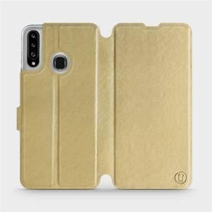 Flipové pouzdro Mobiwear na mobil Samsung Galaxy A20S v provedení C_GOP Gold&Orange s oranžovým vnitřkem