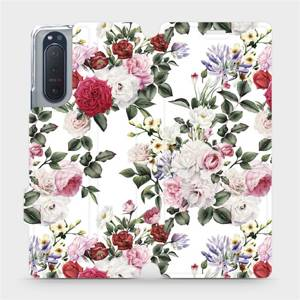 Flipové pouzdro Mobiwear na mobil Sony Xperia 5 II - MD01S Růže na bílé