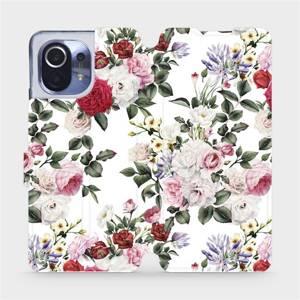 Flipové pouzdro Mobiwear na mobil Xiaomi Mi 11 - MD01S Růže na bílé