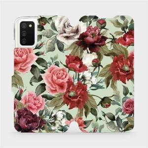 Flipové pouzdro Mobiwear na mobil Samsung Galaxy A02s - MD06P Růže a květy na světle zeleném pozadí