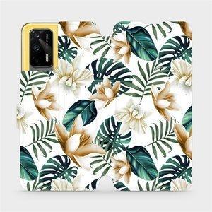 Flipové pouzdro Mobiwear na mobil Realme GT 5G - MC07P Zlatavé květy a zelené listy