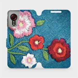 Flipové pouzdro Mobiwear na mobil Samsung Galaxy Xcover 5 - MD05P Džínové květy