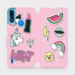 Flipové pouzdro Mobiwear na mobil Motorola Moto E7i Power - M129S Růžové WHAT