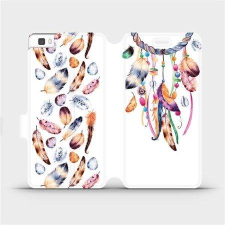 Flipové pouzdro Mobiwear na mobil Huawei P8 Lite - M003S Lapač a barevná pírka
