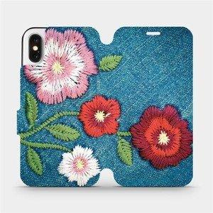 Flipové pouzdro Mobiwear na mobil Apple iPhone X - MD05P Džínové květy