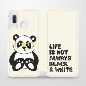 Flipové pouzdro Mobiwear na mobil Samsung Galaxy A20e - M041S Panda - life is not always black and white