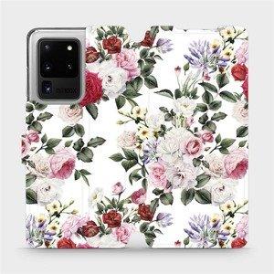 Flipové pouzdro Mobiwear na mobil Samsung Galaxy S20 Ultra - MD01S Růže na bílé