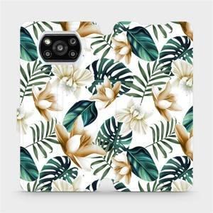Flipové pouzdro Mobiwear na mobil Xiaomi Poco X3 Pro - MC07P Zlatavé květy a zelené listy