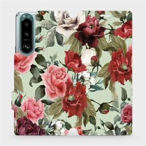 Flip pouzdro Mobiwear na mobil Sony Xperia 5 III - MD06P Růže a květy na světle zeleném pozadí