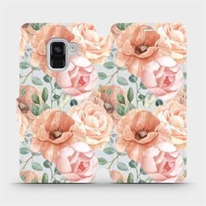 Flip pouzdro Mobiwear na mobil Samsung Galaxy A8 2018 - MP02S Pastelové květy