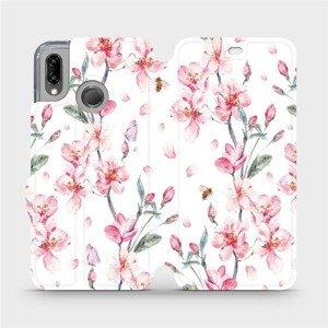 Flipové pouzdro Mobiwear na mobil Huawei P20 Lite - M124S Růžové květy
