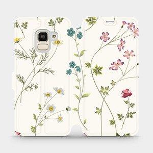Flipové pouzdro Mobiwear na mobil Samsung Galaxy J6 2018 - MD03S Tenké rostlinky s květy