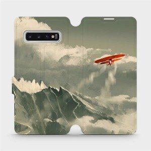 Flipové pouzdro Mobiwear na mobil Samsung Galaxy S10 - MA03P Oranžové letadlo v horách