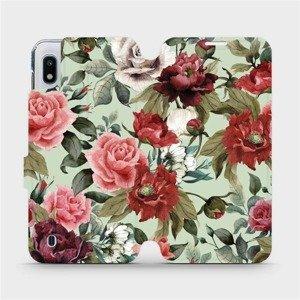Flipové pouzdro Mobiwear na mobil Samsung Galaxy A10 - MD06P Růže a květy na světle zeleném pozadí