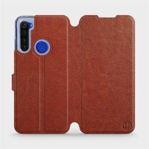 Flipové pouzdro Mobiwear na mobil Xiaomi Redmi Note 8T v provedení C_BRP Brown&Orange s oranžovým vnitřkem
