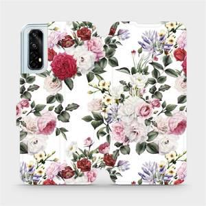 Flipové pouzdro Mobiwear na mobil Realme 7 - MD01S Růže na bílé