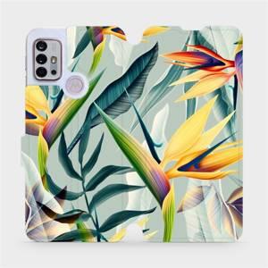 Flipové pouzdro Mobiwear na mobil Motorola Moto G10 - MC02S Žluté velké květy a zelené listy