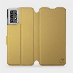 Flip pouzdro Mobiwear na mobil Samsung Galaxy A32 LTE v provedení C_GOS Gold&Gray s šedým vnitřkem