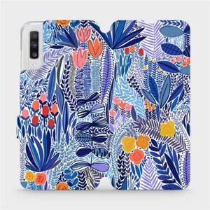 Flip pouzdro Mobiwear na mobil Samsung Galaxy A70 - MP03P Modrá květena