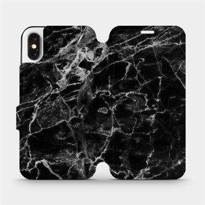 Flipové pouzdro Mobiwear na mobil Apple iPhone X - V056P Černý mramor