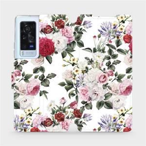 Flip pouzdro Mobiwear na mobil Vivo X60 Pro 5G - MD01S Růže na bílé