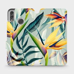 Flipové pouzdro Mobiwear na mobil Honor 8X - MC02S Žluté velké květy a zelené listy