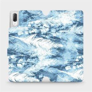 Flipové pouzdro Mobiwear na mobil Sony Xperia L3 - M058S Světle modrá horizontální pírka