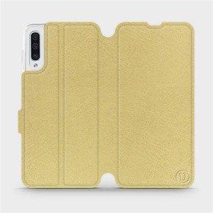 Flipové pouzdro Mobiwear na mobil Samsung Galaxy A50 v provedení C_GOP Gold&Orange s oranžovým vnitřkem