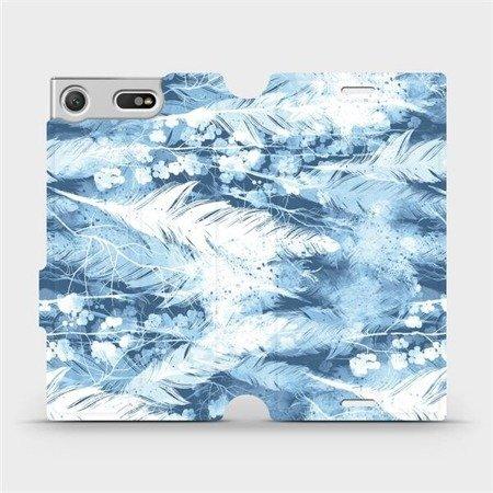 Flipové pouzdro Mobiwear na mobil Sony Xperia XZ1 Compact - M058S Světle modrá horizontální pírka