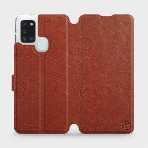 Flipové pouzdro Mobiwear na mobil Samsung Galaxy A21S v provedení C_BRP Brown&Orange s oranžovým vnitřkem