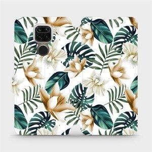 Flipové pouzdro Mobiwear na mobil Xiaomi Redmi Note 9 - MC07P Zlatavé květy a zelené listy