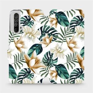 Flipové pouzdro Mobiwear na mobil Realme X3 SuperZoom - MC07P Zlatavé květy a zelené listy