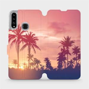 Flipové pouzdro Mobiwear na mobil Samsung Galaxy A20S - M134P Palmy a růžová obloha
