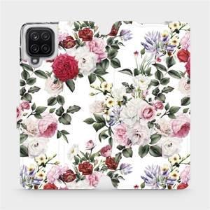 Flipové pouzdro Mobiwear na mobil Samsung Galaxy A12 - MD01S Růže na bílé