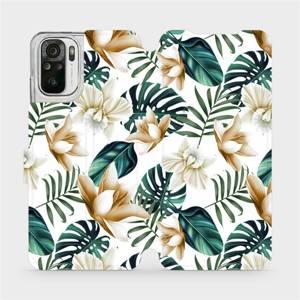 Flipové pouzdro Mobiwear na mobil Xiaomi Redmi Note 10 - MC07P Zlatavé květy a zelené listy