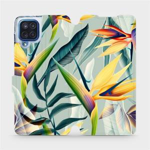 Flipové pouzdro Mobiwear na mobil Samsung Galaxy M12 - MC02S Žluté velké květy a zelené listy