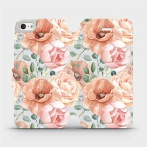 Flip pouzdro Mobiwear na mobil Apple iPhone SE / iPhone 5 / iPhone 5S - MP02S Pastelové květy