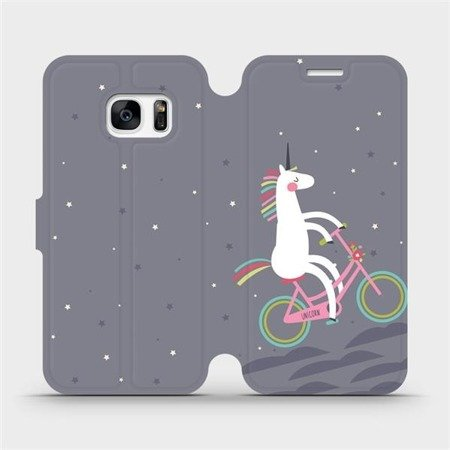 Flipové pouzdro Mobiwear na mobil Samsung Galaxy S7 - V024P Jednorožec na kole