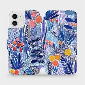 Flip pouzdro Mobiwear na mobil Apple iPhone 12 - MP03P Modrá květena